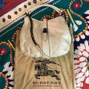 Burberry Creighton Large White Leather Hobo